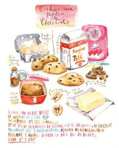 Chocolate chip cookie recipe in french - Cookies aux pépites de chocolat Chocolate Chip Cookies, Watercolor Food, Watercolor Illustration, Watercolor Wallpaper, Watercolor Drawing, Desserts Drawing, Recipe Drawing, French Cookies, French Chocolate
