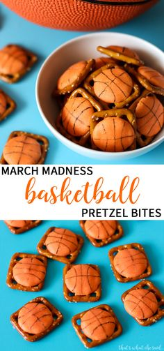 Basketball Treats - March Madness Pretzel Bites. These sweet treats are a breeze to whip up and are perfect for pee wee team or a March Madness party! The perfect Basketball Treat! via @cspangenberg