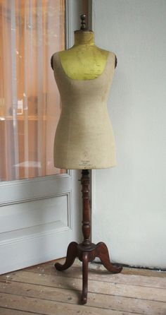Antique edwardian French Stockman mannequin from 1920 with a yellow silk collar by LaChineuseFrancaise on Etsy