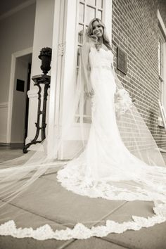 Custom made Wedding Veil Cathedral length with pearls, iredescdent sequins, by ChezBlanc on Etsy  $298.00