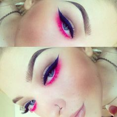 Blue eyeliner and pink eyelashes for work today. It's like colour puked on me  Brows: ✨ #anastasiabeverleyhills Dip Brow Pomade in Blonde and Dark Brown, #MAC Brow Set in Showstopper.  Eyes: ✨ Fluid line in Waveline. Wedge eyeshadow throughout crease.  Magenta pigment on lower lash line blended out a small bit of Rule eyeshadow. Magenta pigment packed onto bottom lashes after being coated in clear mascara. Fascinating pencil on the waterline. (All MAC) - @Georgia- #webstagram