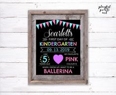 Personalized First Day of School Print, 8x10, Digital Download, Printable by playfulprintsart on Etsy Rustic Christmas, Christmas Cards, Kindergarten First Day, Childrens Room Decor, One Day, Quote Prints, First Day Of School, Kid Names, Order Prints