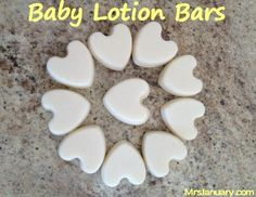 Equal parts of Coconut oil and beeswax . Add teaspoon vitamin E . Baby lotion bars .