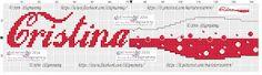 amorevitacrocette: Bordura Strofinaccio Coca Cola con nome Cristina