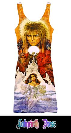 The Labyrinth mystical fantasy David Bowie custom printed fabric dress (LIMITED EDITION). $70.00, via Etsy.   WANT!!!!!!