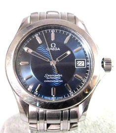 Omega Seamaster Automatic Watch Blue Dial With Date Omega Automatic, Omega Seamaster Automatic, Automatic Watches For Men, Gents Watches, Cool Watches, Omega Seamaster Deville, Blue Band, Wooden Watch, Omega Watch