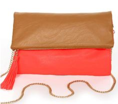 Tan and coral clutch - http://fashchronicles.blogspot.com/2012/12/last-minute-holiday-shopping-spree.html