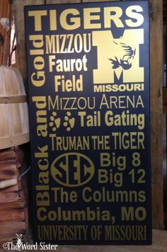 "University Of Missouri Tigers 12""x24"" Subway Art by The Word Sister. $45.00, via Etsy."