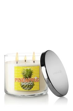 Pineapple Mango~~~Fresh from a tropical market, sweet ripened pineapple and luscious mango, with crisp lotus and a hint of warm vanilla.