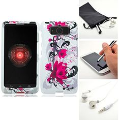 Spring Lotus Hard Case Snap On Protector Case Cover for Motorola Droid Mini XT1030 + Accessory Kit Emaxx