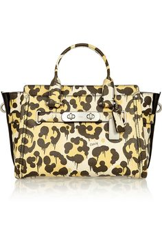 COACH Le Fauve Swagger leopard-print textured-leather tote
