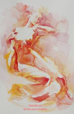 Large Print of Watercolor Figure Art in Oranges Reds by Krystyna81