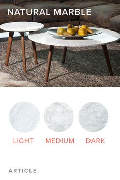 Varying shades are what make natural marble tables so unique.