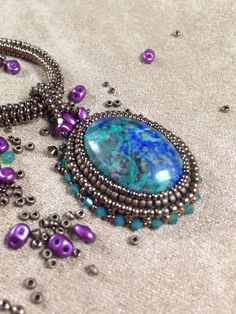 Mother Earth Pendant - Beading Around A Cabochon #Seed #Bead #Tutorials