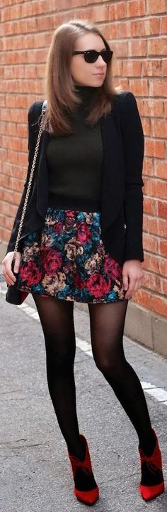 floral mini skirt with black sweater and blazer