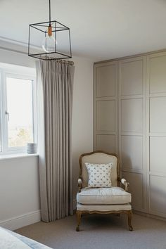 Contemporary country bedroom - Triple French pleat curtains, contemporary metal ceiling light, Louis chair in cream linen Modern Country Bedrooms, Contemporary Country Home, Modern Bedroom Design, Beige Curtains, Pleated Curtains, Cream Curtains, Bedroom Curtains, French Master Bedroom, Master Bedrooms
