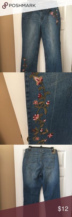 "Jeans Vintage jeans. Pretty flower embrodiery on left front pocket and right lower leg. Boot cut. Waist is 36"", hips 40"", and inseam is 34"". Z Cavaricci Vintage Jeans Boot Cut"