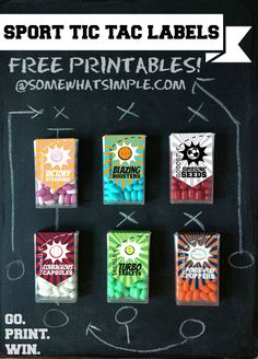 Free Sport Tic Tac Labels! They include baseball, basketball, football, soccer, tennis + volleyball- perfect for soccer moms, coaches, party planners or sports fanatics! #freeprintable #tictac #sports