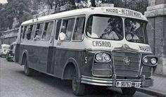 Autobus Madrid - Alcobendas (19 de enero de 1962): Un autobús de la empresa Casado Arroyo estacionado en la cabecera de la calle Treviño, junto a la actual Consejería de  Transportes e Infraestructuras de la Comunidad de Madrid.