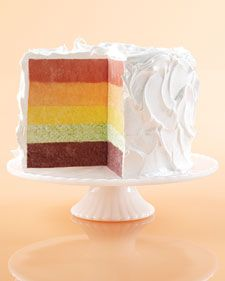 Fruit purees flavor and tint each of the five cake layers naturally, but gel-paste food coloring can be added to each to really amp up the rainbow effect.