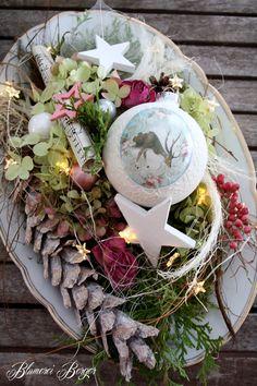 Weihnachtsdeko - :::: Adventsteller beleuchtet :::: - ein Designerstück von BlumereiBerger bei DaWanda
