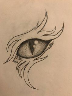 Pencil Sketching, Pencil Art Drawings, Drawing Sketches, Drawing Ideas, My Drawings, Wings Sketch, Eye Sketch, Dragon Tattoo Drawing, Demon Eyes