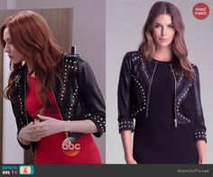 Eliza's studded leather jacket on Selfie.  Outfit Details: http://wornontv.net/39790/ #Selfie