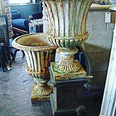 #pair of #Victorian #painted #cast iron #urns #garden ornament #metal #interior…