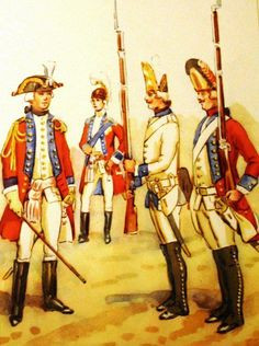 Regiment of Foot Guard Grand Duchy of Lithuania in 1775. From left to right: a staff officer, Lieutenant General Adam Czartoryski - the head of a regiment in the years 1779-1783, the grenadier in collet, grenadier. Fig. B. Gembarzewski.