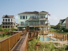 Villa del Mar. Oceanfront beach rental. 5 Bedrooms, 4 Baths. Oceanfront swimming pool and Pergola with two-level deck. 9721 Dolphin Ridge Road Emerald Isle, NC.