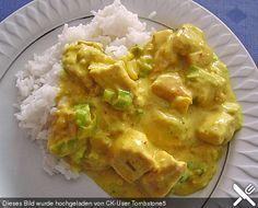 Hähnchen-Curry, ein sehr leckeres Rezept aus der Kategorie Geflügel. Bewertungen: 51. Durchschnitt: Ø 4,5. - Menge f. 4Pers