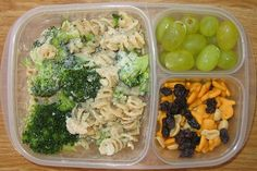 Pasta and veggies for lunch.