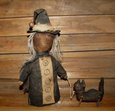 My Primitive ON the CAT WALK Witch Doll by myprimitivesaltbox
