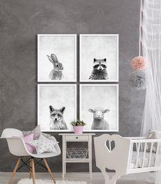 Woodland Animal crèche imprime Animal crèche gris par CocoAndJames