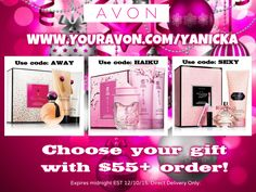 12 Days of Avon Christmas- Day 9 Today is choices again... Choose one of three perfume gift sets with a $55+ order! For Far Away use code: AWAY For Haiku Kyoto Flower use code: HAIKU For Ultra Sexy Pink use code: SEXY #Avon #12DaysofChristmas #perfume #free #gwp #gifts #holidays #giftset #FarAway #Haiku #UltraSexyPink #pink #couponcode #deals