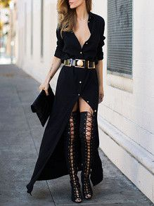 - Street Style: Thigh-High Lace-Up Boots + Black Maxi Shirt Dress + Gold Belt + Clutch + Shades Passion For Fashion, Love Fashion, Autumn Fashion, Womens Fashion, Fashion Trends, Style Fashion, Fashion 2015, Fashion Black, Net Fashion