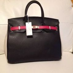 6826670a9ab I just discovered this while shopping on Poshmark  AUTHENTIC CARBOTTI  BIRKIN STYLE BLK CREAM RED BAG. Check it out! Size  MEDIUM TO LARGE