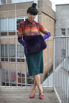 Topshop shirt, Topshop skirt, Topshop hand muff