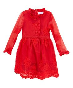 This Red Sheer Lace Button-Front Dress - Kids & Tween is perfect! www.justcouturestore.com #zulilyfinds #justcouture