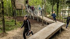 Drøn at the schoolyard New active outdoor areas for Skørping School's major students by Vega Landskab Wood Pathway, Wooden Path, Wooden Walkways, Pathway Ideas, Wood Playground, Playground Design, Outdoor Areas, Outdoor Play, Grand Parc