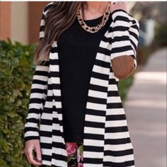 Black and white stripped light cardigan Light and pretty, super great for spring and summer. Elbow suede-like fabric patch attached. Sweaters Cardigans