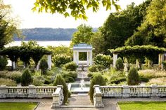 Blithewood—the riverfront Italianate garden behind the Levy Economics Institute of Bard College—is worth visiting around dusk anytime of the year. Photo from Gardens of the Hudson Valley by Susan Daley and Steve Gross, Copyright © 2010.