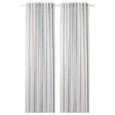 RITVA Curtains with tie-backs, 1 pair, white, The curtains lower the general light level and provide privacy by preventing people outside from seeing directly into the room. The curtains can be used on a curtain rod or a curtain track. Ikea Curtains, Lace Curtains, Striped Curtains, Curtain Rings With Clips, Curtains With Rings, Curtain Wire, Curtain Rods, Curtains Without Sewing, Recycling Facility