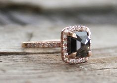 3.24 Ct. Rose Cut Radiant Brown Black Diamond Halo by Studio1040