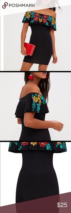 Black Ruffled Bodycon Dress Black Ruffled Bodycon dress Size 0 Fits true to size See pictures for length  Worn once Dresses Mini
