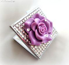 Purple rose pill case, rhinestone pill box, deco bling, gift for her