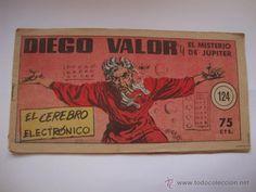 COMIC COMANDANTE ESPACIAL ESPACIO DIEGO VALOR Nº 124 DE LA COLECCION ORIGINAL DEL AÑO 1954 NO COPIA.