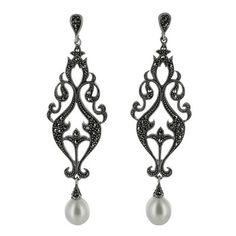 Sterling Silver Marcasite Pearl Swirl Chandelier Drop Earrings