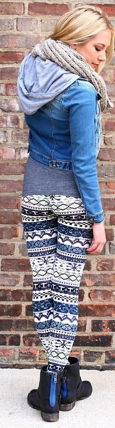 Denim hood jacket and legging fashion