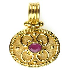 Damaskos 18k Gold Ruby Synergy Pendant, 18k Gold and a Ruby, Emerald or Sapphire. Athena's Treasures, www.athenas-treasures.com